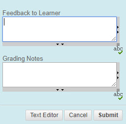 Feedback to Learner and Grading Notes Boxes