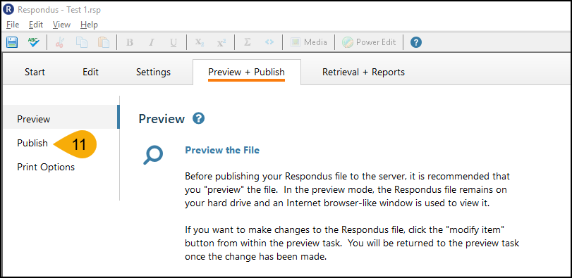 Screenshot of Converting File in Respondus Step 11