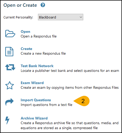 Screenshot of Converting File in Respondus Step 2