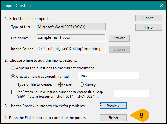 Screenshot of Converting File in Respondus Step 8