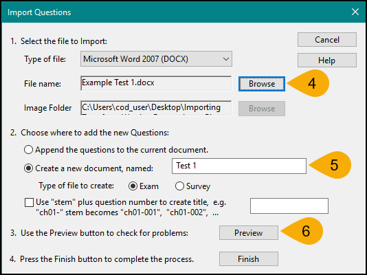 Screenshot of Converting File in Respondus Steps 4 through 6