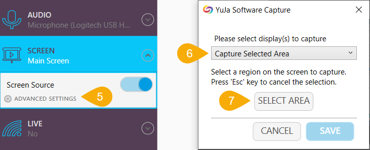 Advance settings for capturing the screen